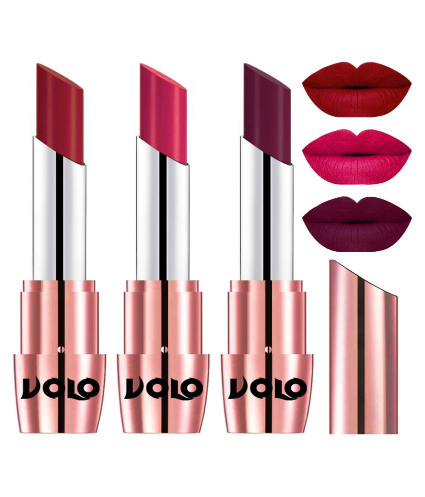 VOLO Perfect Creamy with Matte Lipstick Red,Passion Pink, Wine Pack of 3 10 g