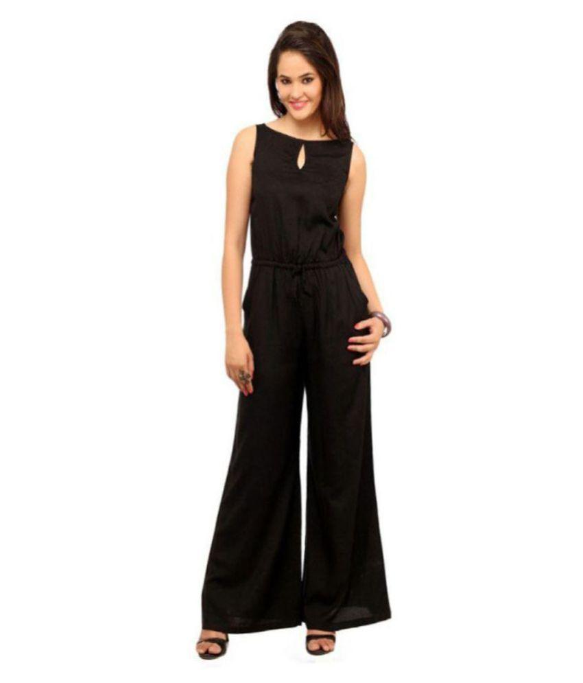 shree wow Black Rayon Jumpsuit