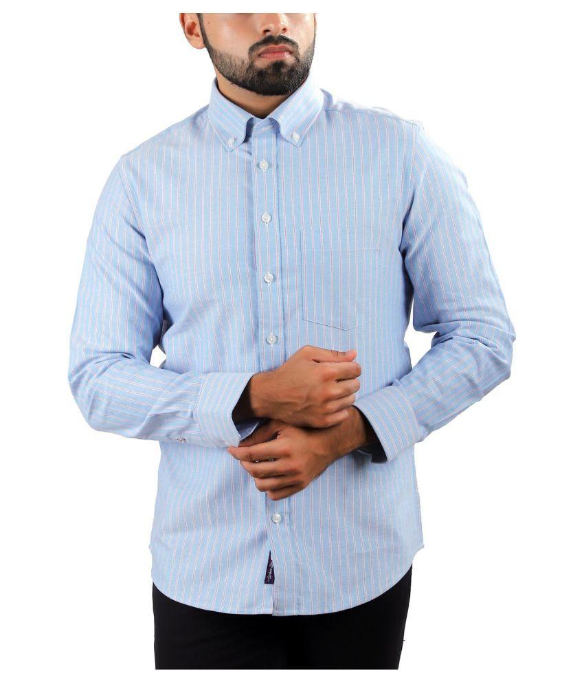 Pink Fox 100 Percent Cotton Blue Stripes Shirt