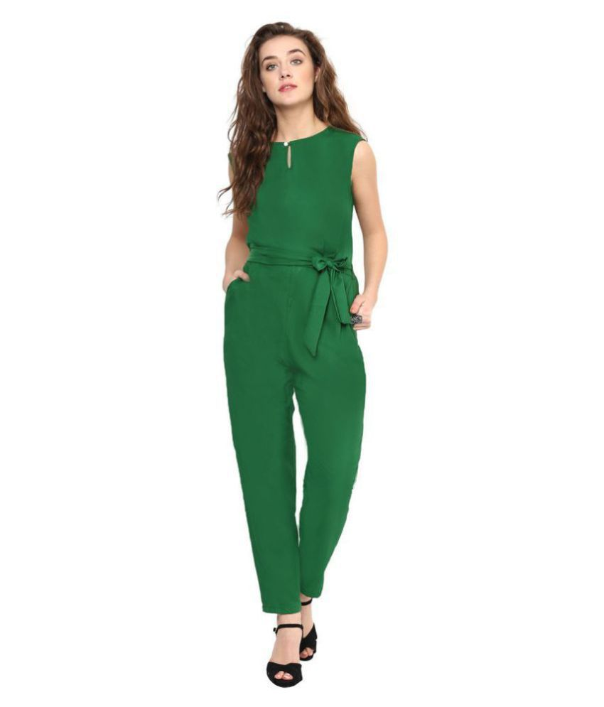 shree wow Green Crepe Jumpsuit