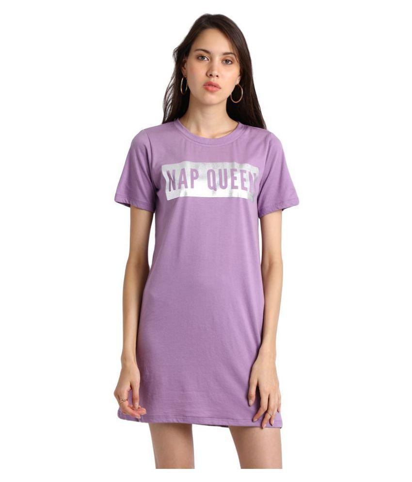 Besiva Cotton Purple T-shirt Dress