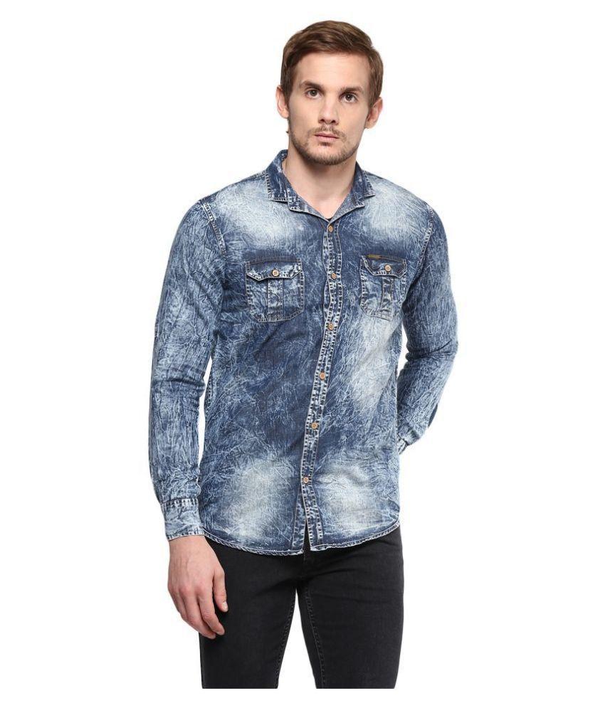 Urbano Fashion Denim Grey Solids Shirt