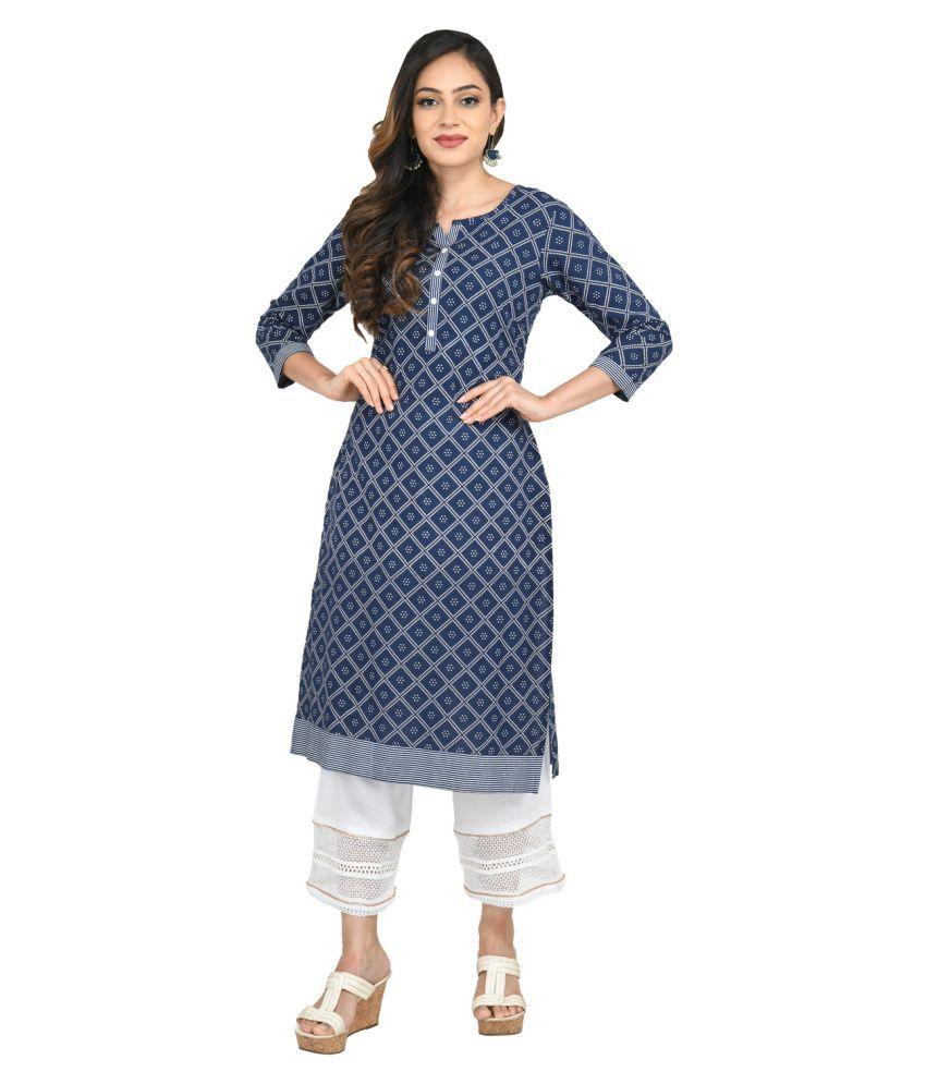 Vedic Blue Cotton Straight Kurti