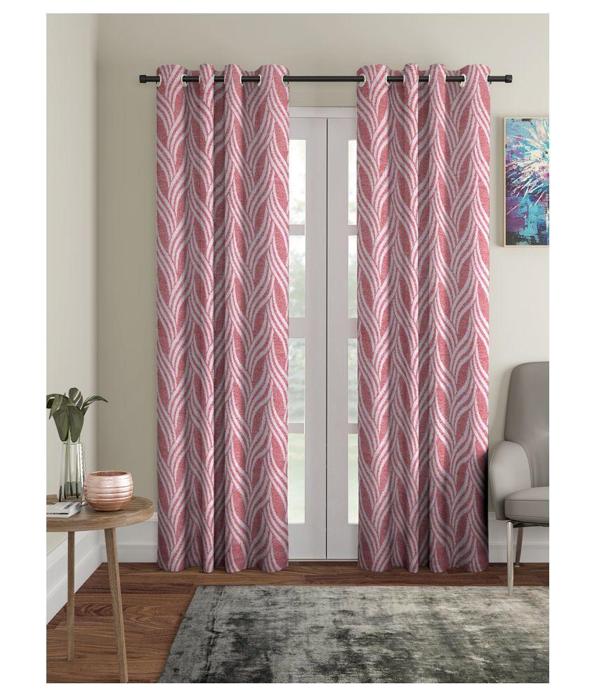 Dhrohar Set of 2 Long Door Eyelet Cotton Curtains Red