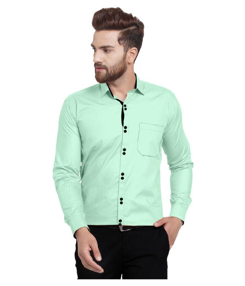 Lucas 100 Percent Cotton Green Solids Shirt
