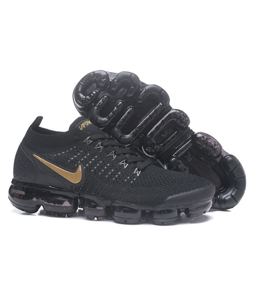 vapormax nike black and gold