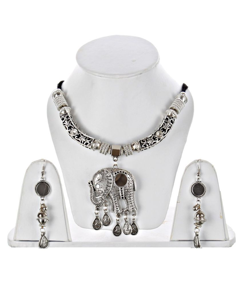 LUCKY JEWELLERY Alloy Silver Statement Contemporary/Fashion Oxidised Necklaces Set