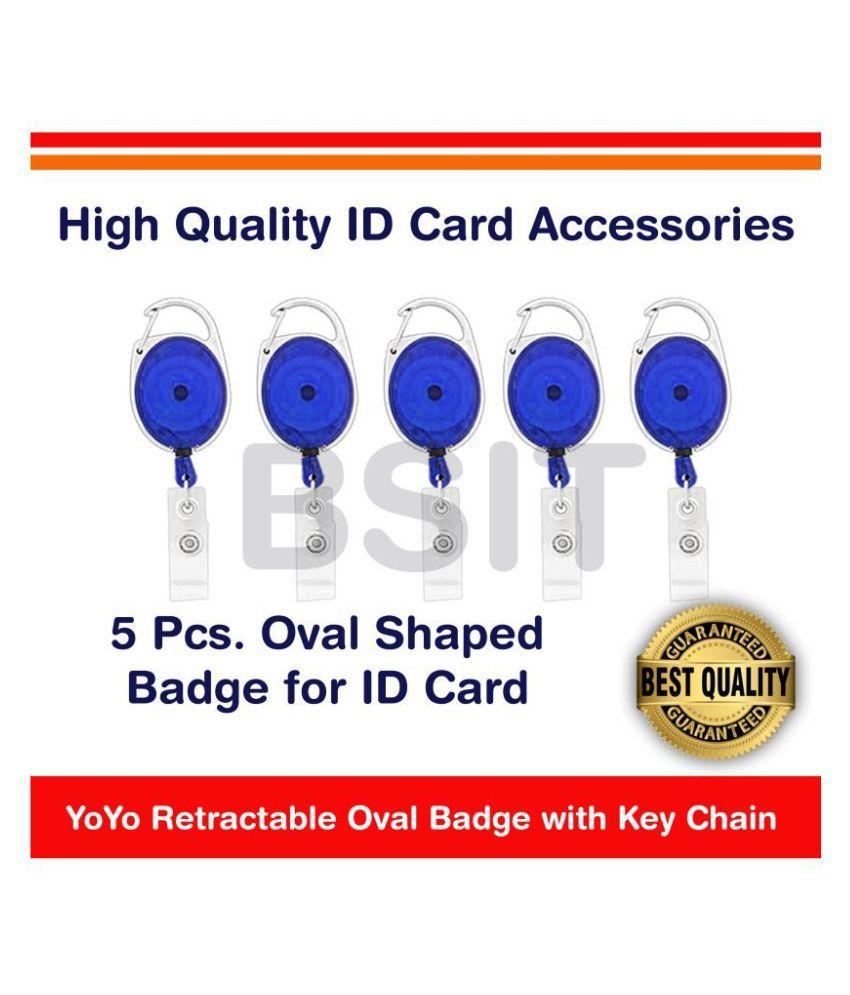 YoYo Retractable Oval Badge with Key Chain ID Holder (Blue), Pack of 5