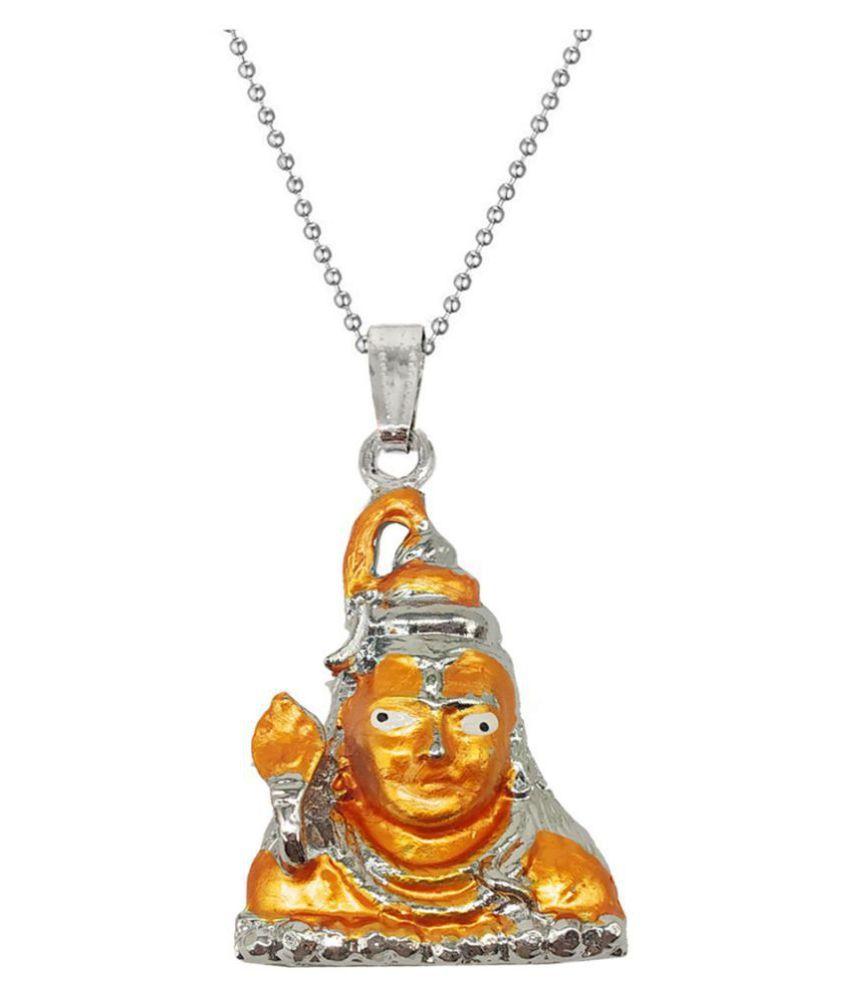 Men Style  Lord Shiva Bolenath Mahadev Locket With Chain Rhodium Zinc, Metal Pendant Set