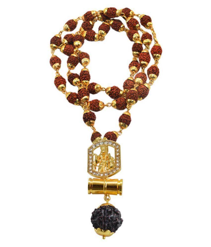 Shiv Jagdamba Religious Jewelry Loard Hanuman Damaru Locket With Rudhrasha Mala Necklace Pendant