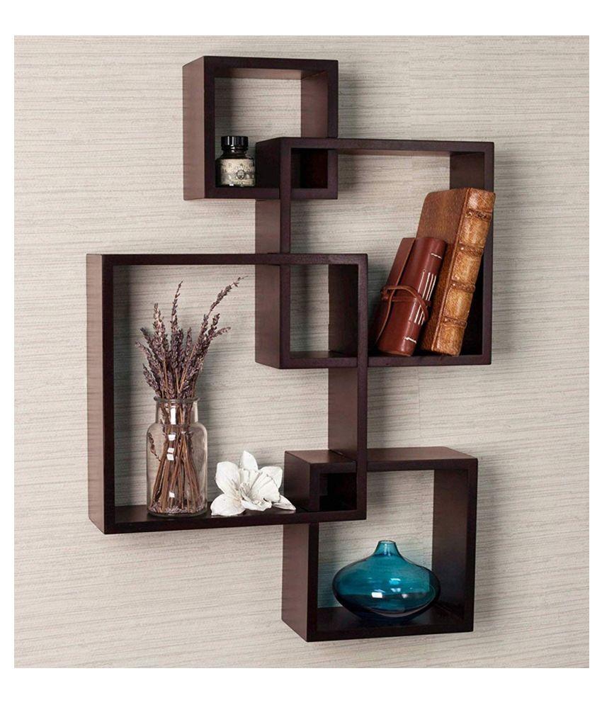 Universal Wood Handicrafts Wall Mounted Shelf Rack for Living Room Decor (Number of Shelves - 4, Brown)