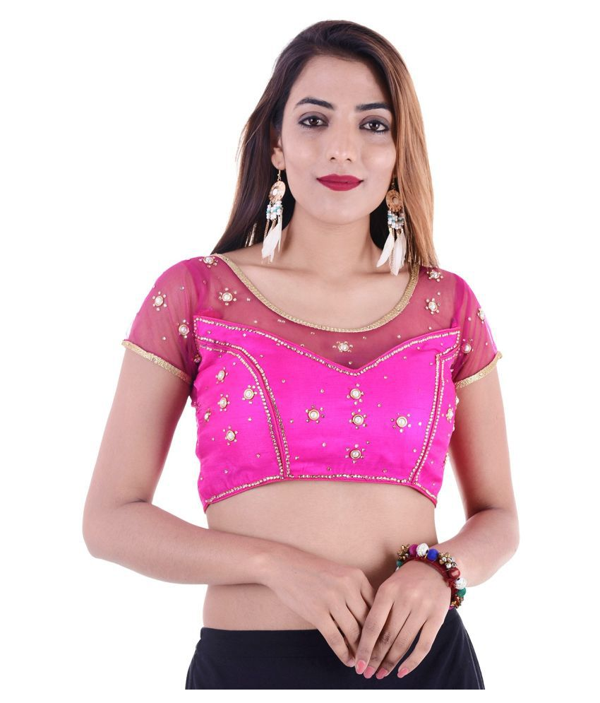ADABHUT Pink Art Silk Readymade with Pad Blouse