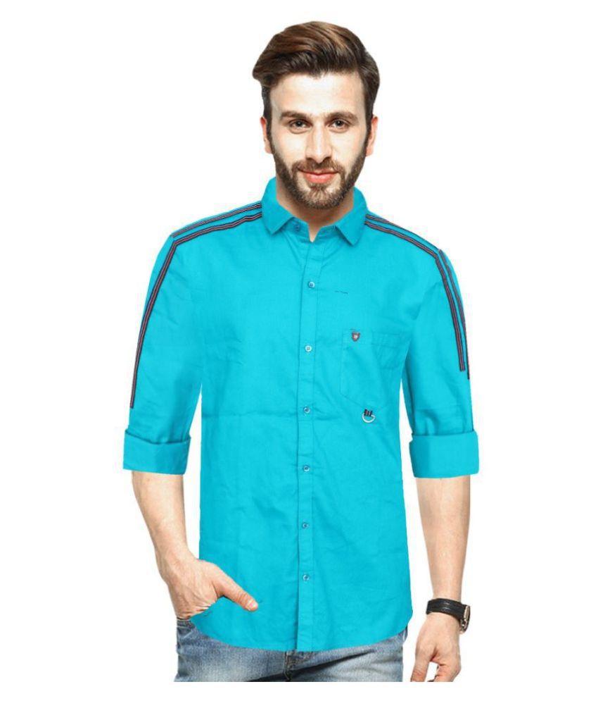 Blue Rock Cotton Blend Turquoise Solids Shirt