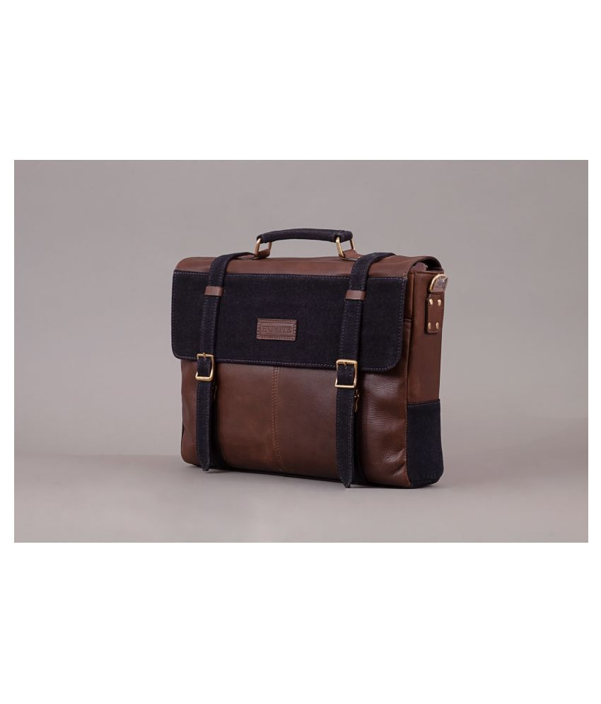 HUMITE Tan Leather Office Messenger Bag