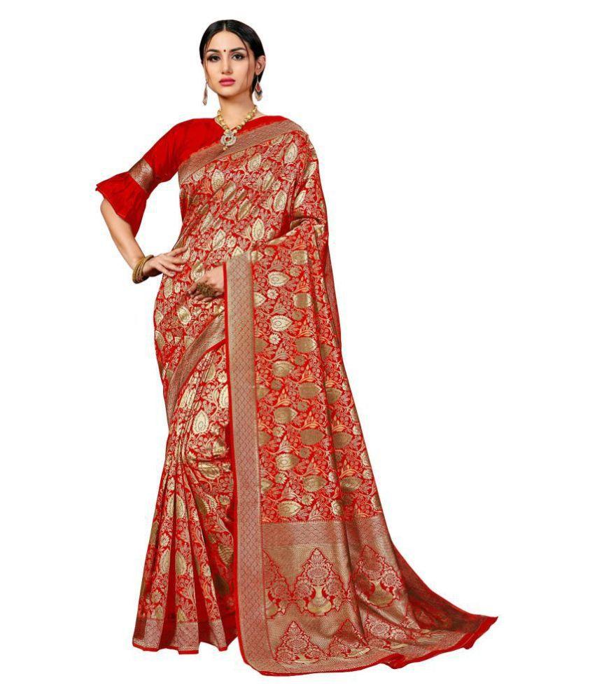 Taboody Empire Red Banarasi Silk Saree