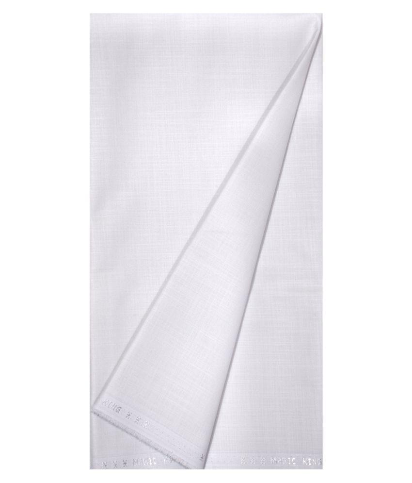 KUNDAN SULZ GWALIOR White Cotton Blend Unstitched Shirt pc