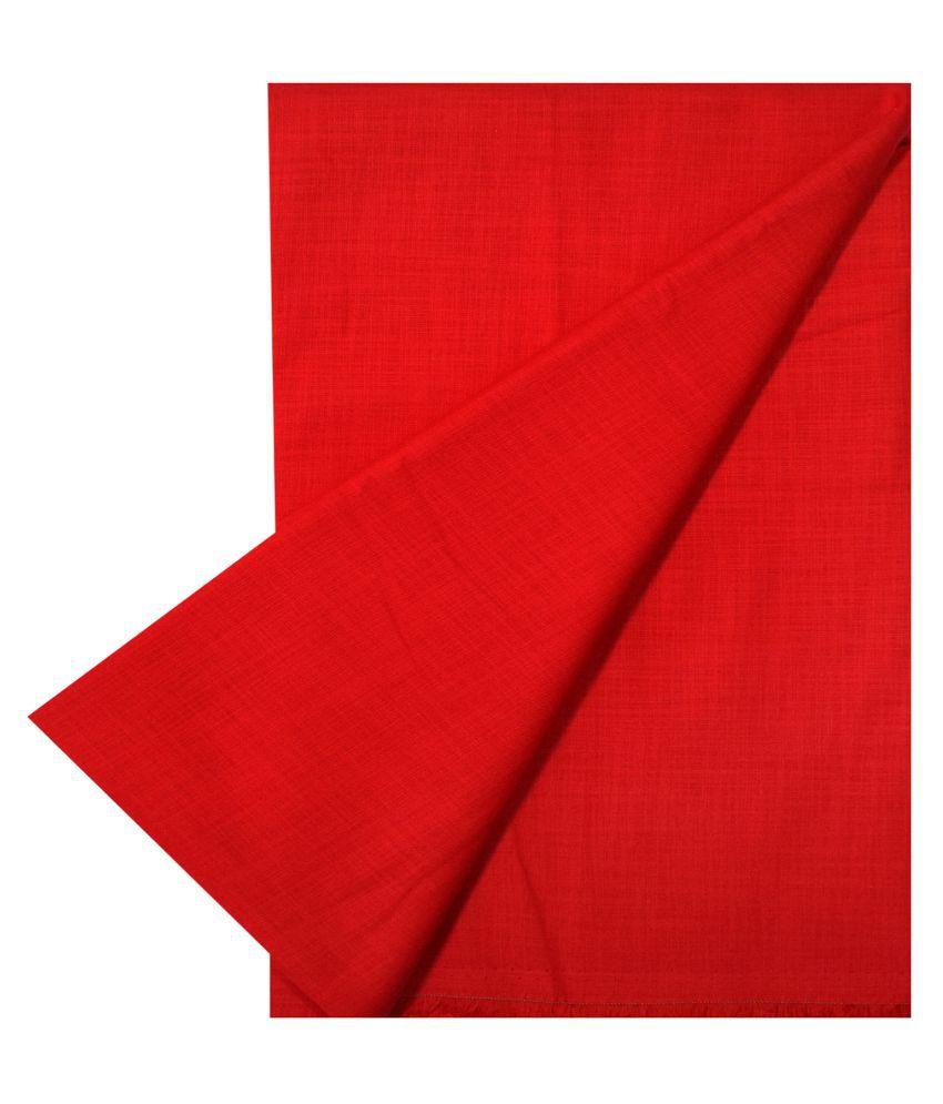 KUNDAN SUZ GWALIOR Red Cotton Blend Unstitched Shirt pc