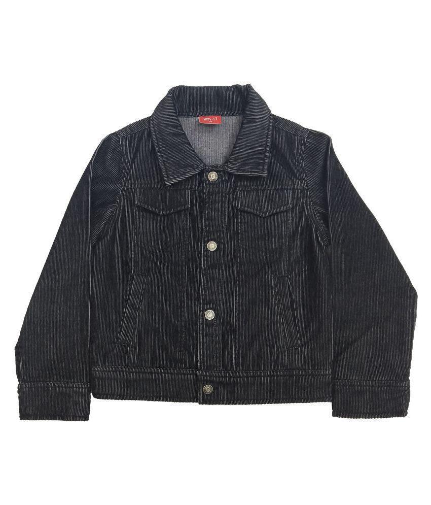 Kids-17 Boys Solid Fullsleeves Denim Jacket