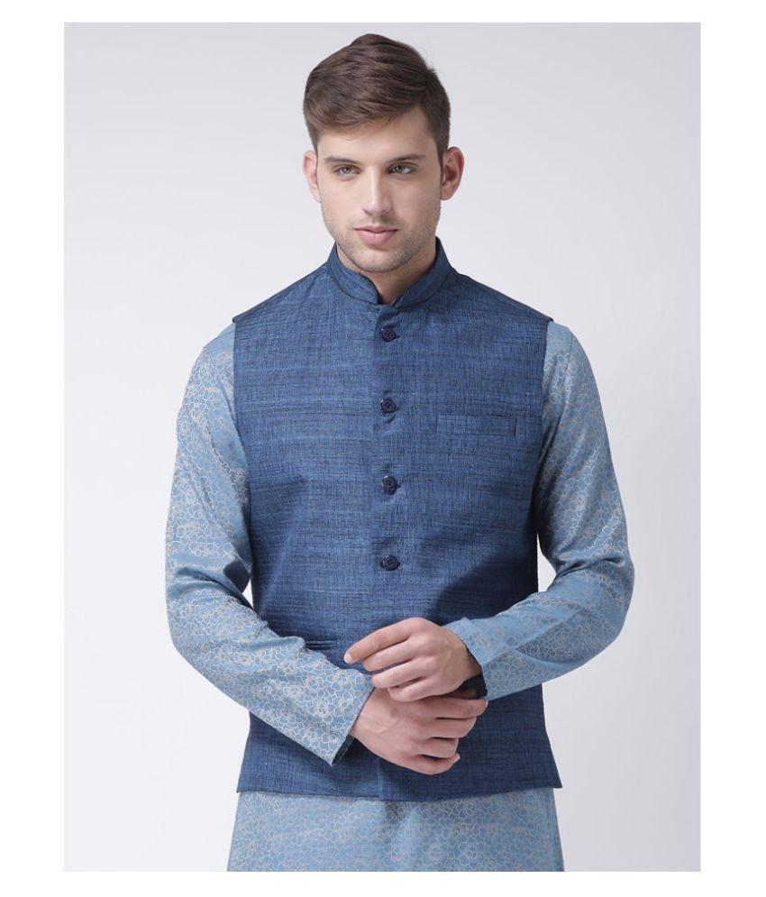 Tabard Blue Silk Nehru Jacket