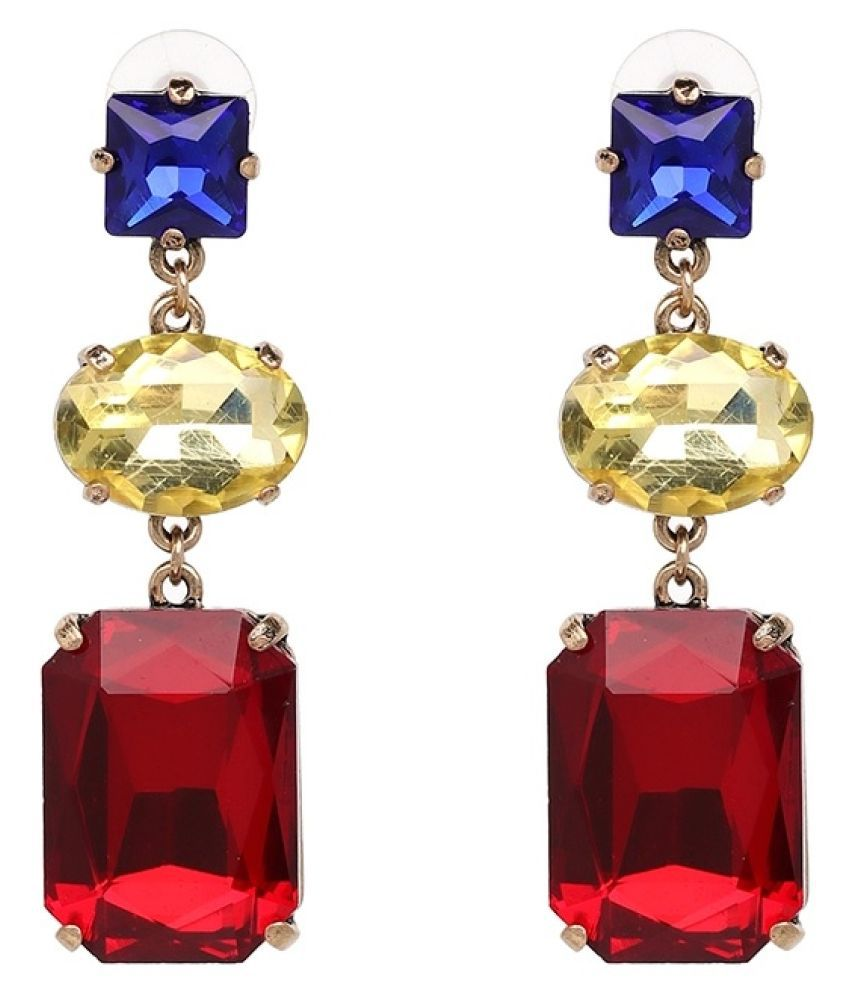 Fabula Jewellery Red, Blue & Gold Square Large Crystal Statement Fashion Drop Earrings For Women & Girls