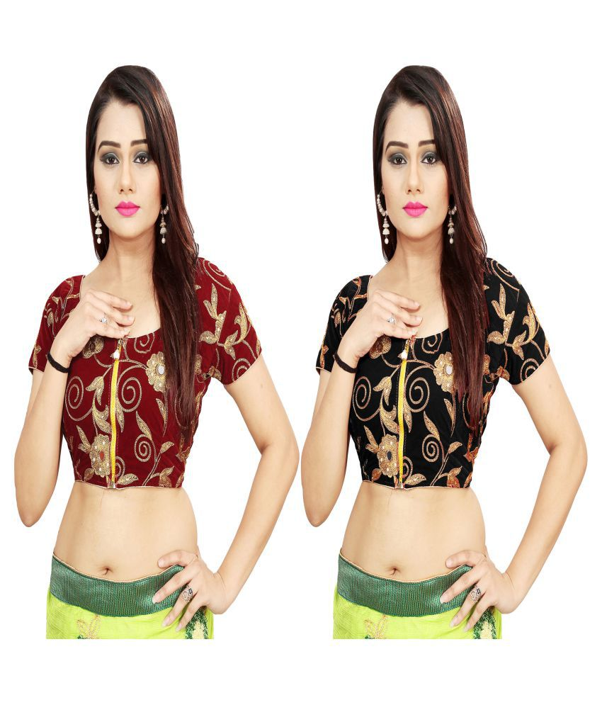 Dhandai Fashion Brown Velvet Unstitched Blouse