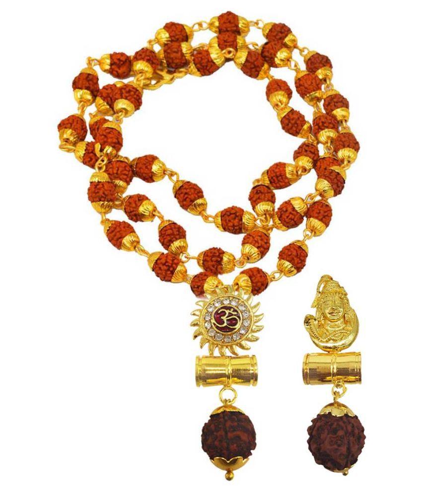Shiv Jagdamba Religious Jewellery Om Shiv Suryadev Gold Brown Brass Wood Pendant with Rudraksha Mala