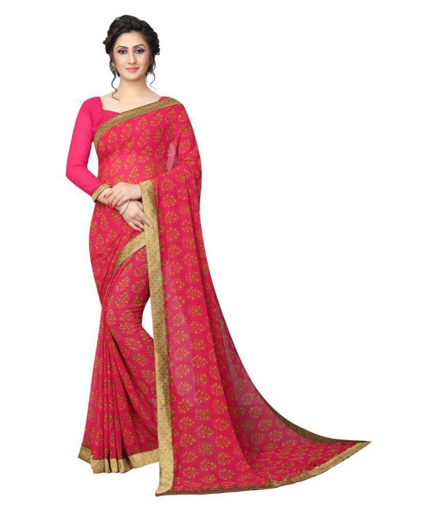 Dhandai Fashion Pink Georgette Saree