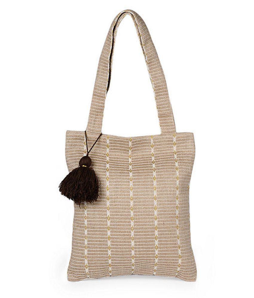 INIHOM Beige Cotton Shoulder Bag