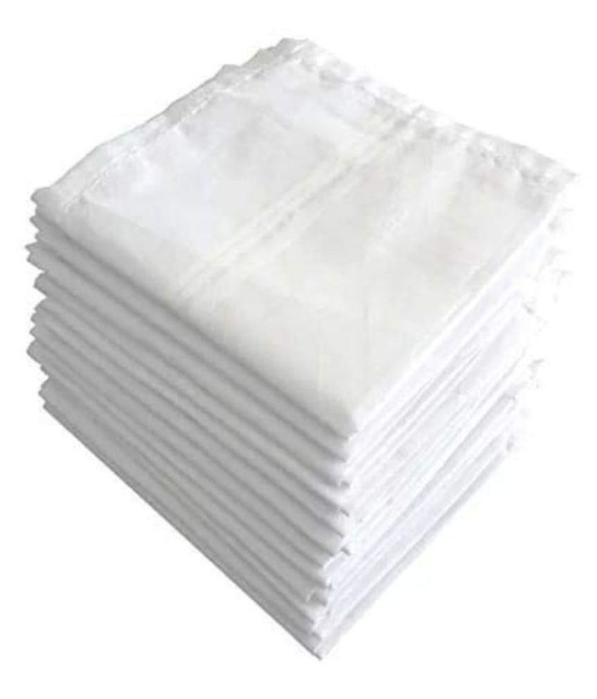 JENNY DENIAL Men's 100% Cotton White Handkerchief  RUMAL  For Men Set of 12 PCs( RUMAL)
