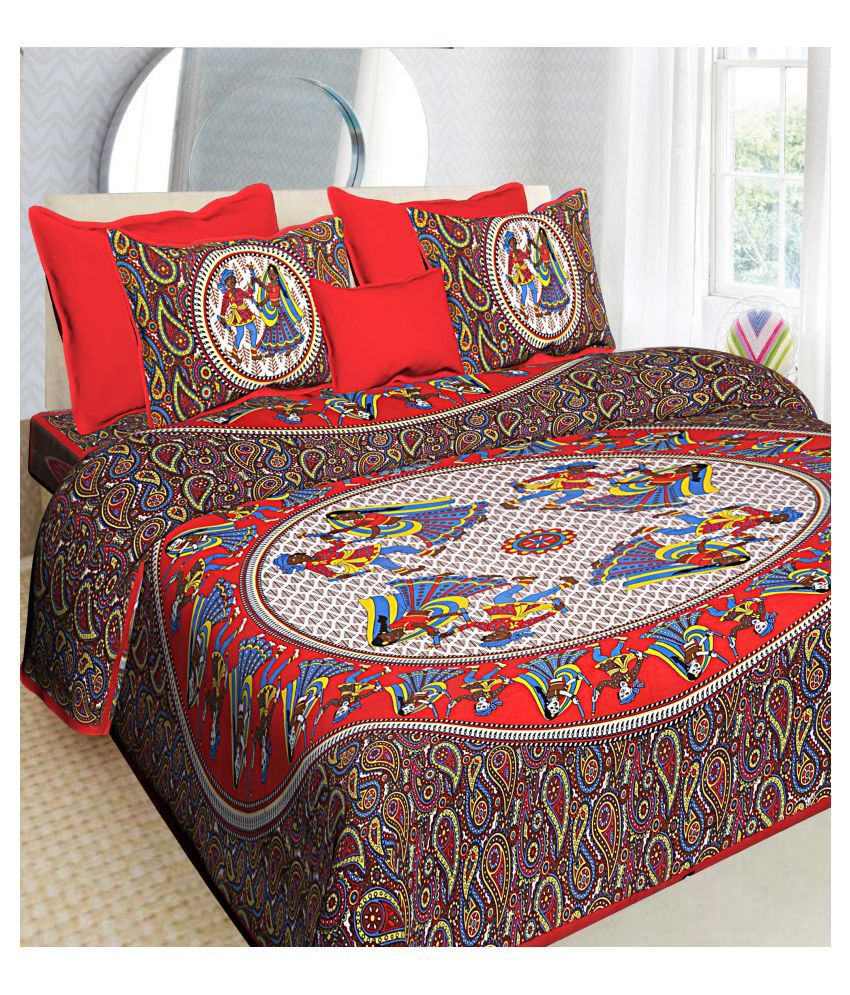 AJ Home Cotton Double Bedsheet with 2 Pillow Covers