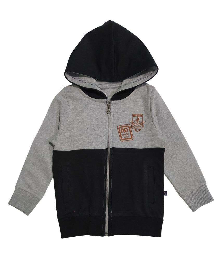 Boy's Front Open Hooded Cut And Sew Sweatshirt With Let's Go Print