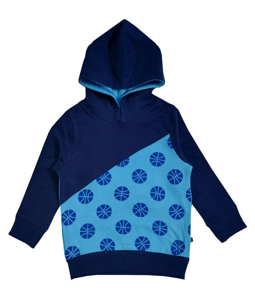 Boy's Hooded AOP Cut And Sew Sweatshirt  With Basket Print