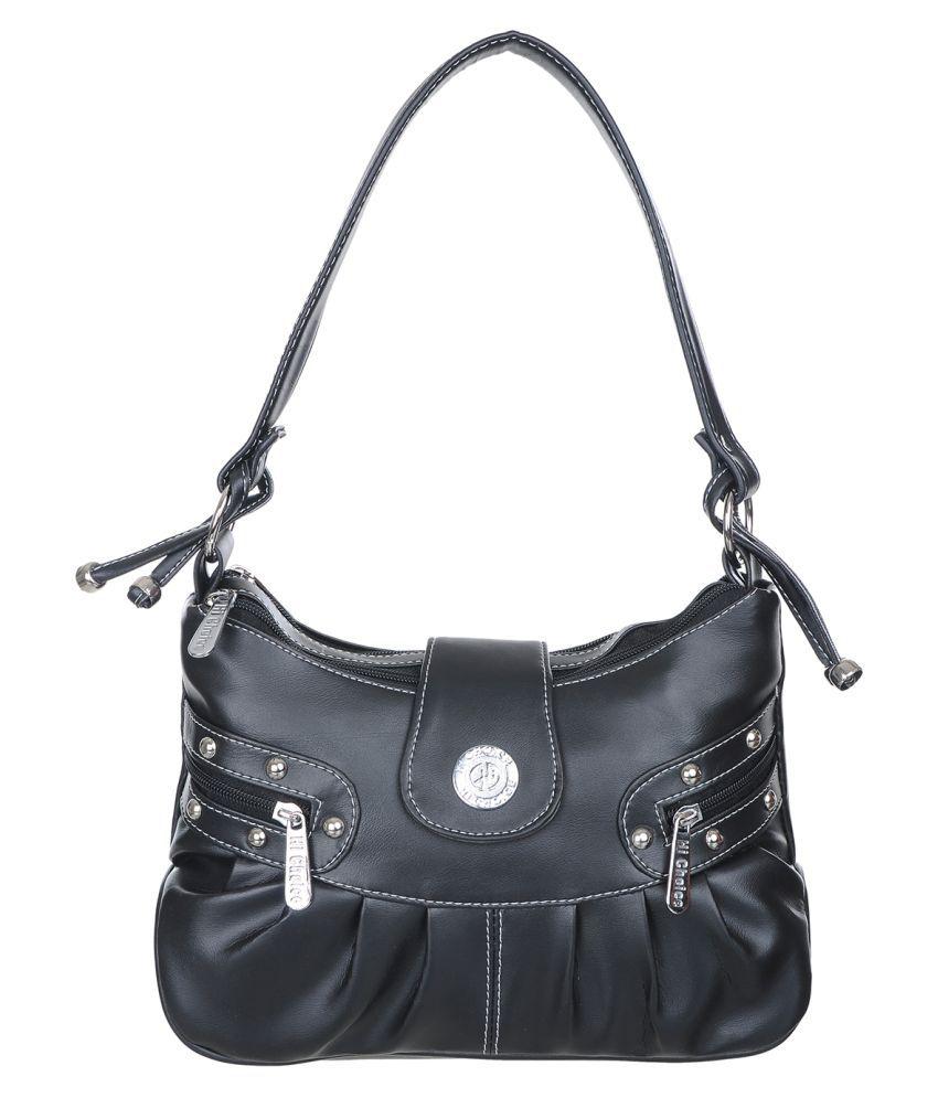 Hi Choice Black Artificial Leather Shoulder Bag