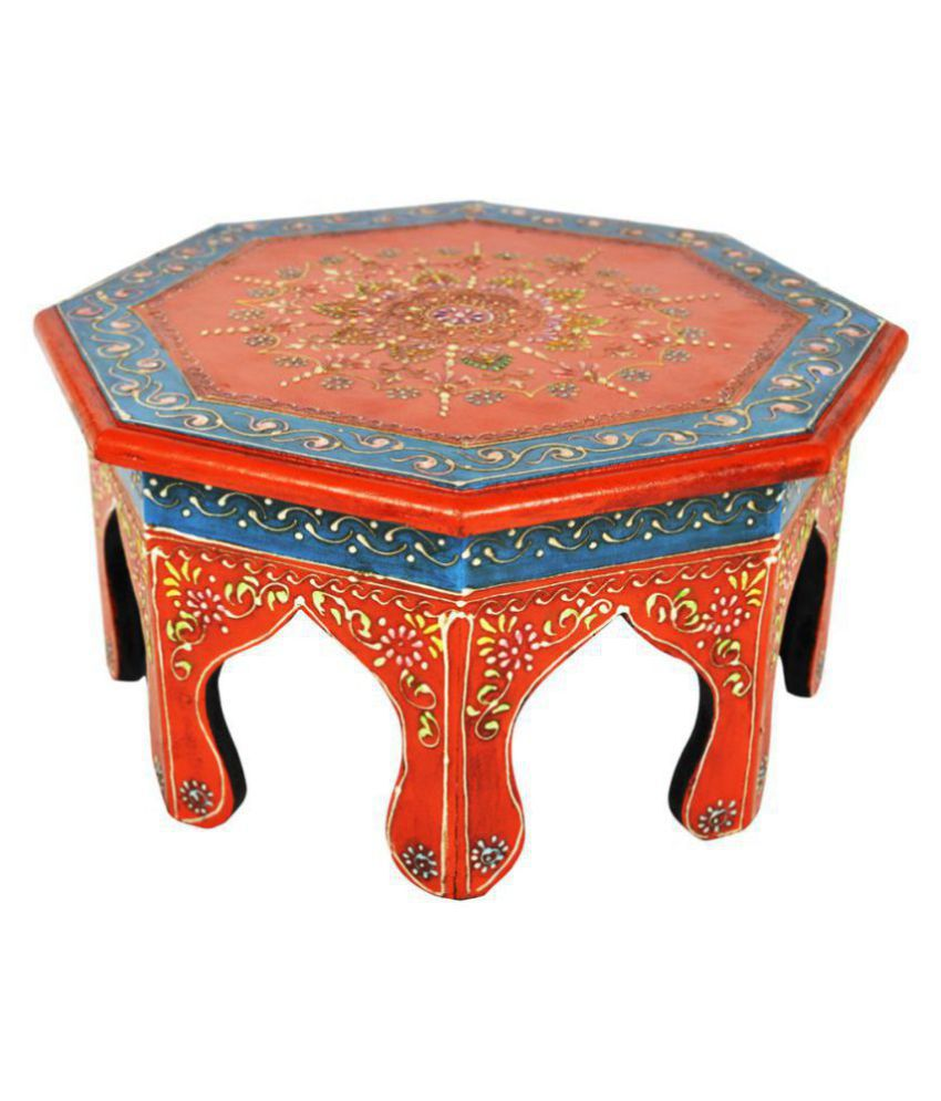 Lalhaveli Jaipuri Handpained Ethnic Round Wooden Puja Chowki Table 12 X 12 X 6 Inches