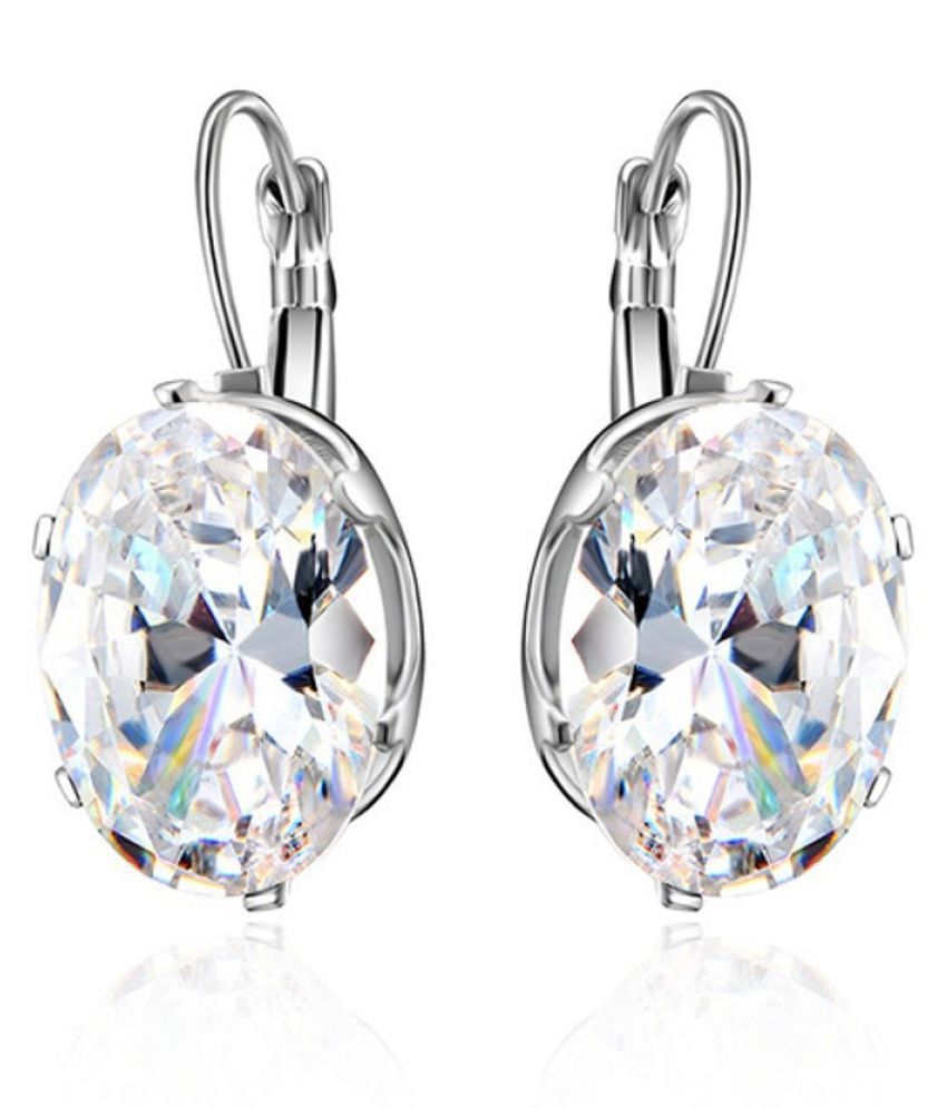 OOMPH Jewellery Silver Plated Oversized Oval Cubic Zirconia Drop Fashion Earrings For Women & Girls