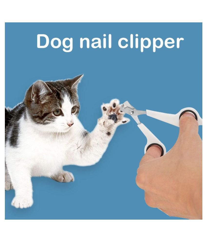 Pet Nail Toe Clipper Scissors Stainless Steel Dog Claw Cutter(White Black)