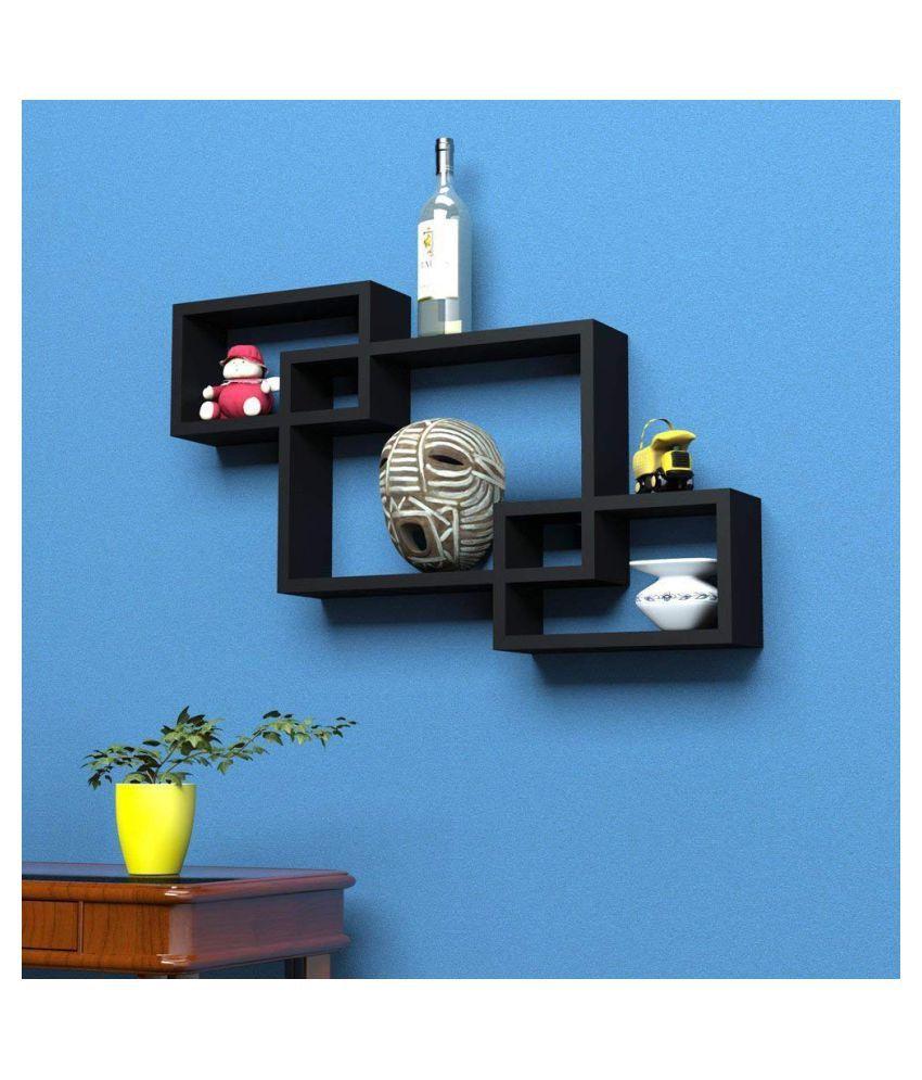 Rectangle Intersecting Box MDF Wall Shelf Set of 3 (Black)