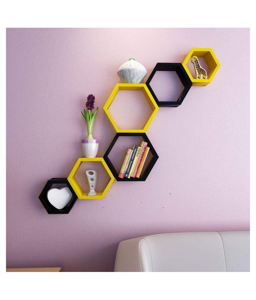 UNIVERSAL WOOD HANDICRAFTS Hexagonal Wall Shelf MDF Set of 6 (Black&Yellow)