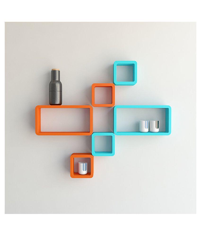 Universal Wood Handicrafts Cube Shape Wall Shelves Set Of 6 Modern Rectangle (Blue&Orange)