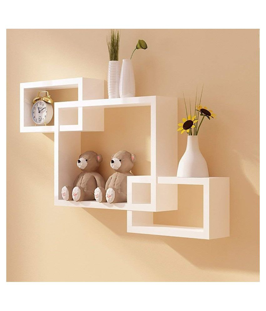 Universal Wood Handicrafts Rectangle Intersecting Box MDF Wall Shelf Set of 3 (White)