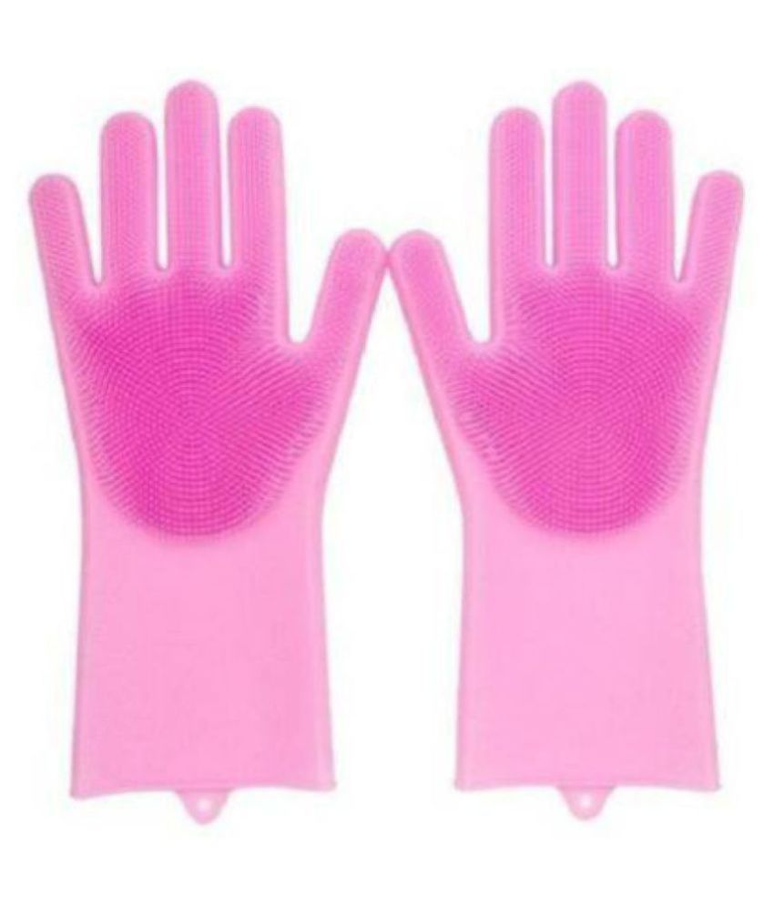 HRIDAAN Silicone Scrubbing Rubber Medium Cleaning Glove SILICONE HAND GLOVES