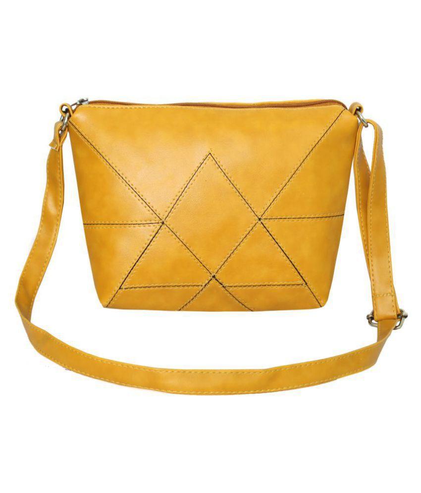 Leather Land Yellow P.U. Sling Bag