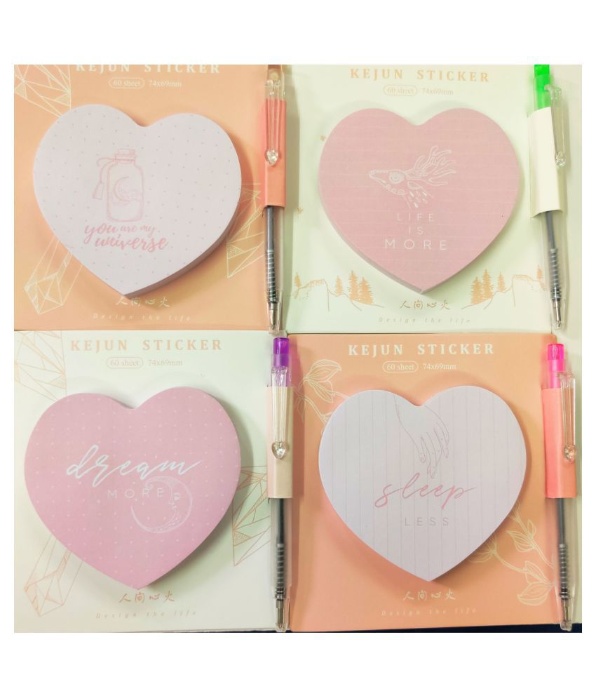 R H Lifestyle Heart Shape Sticky Note Sticker With Pen for Stationery Office School Suppliers Pack of 4 with Motivational Quotes ( 60 sheet each Pad)