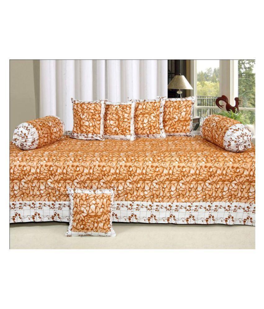 HomeStore-YEP Cotton Brown Floral Diwan Set 8 Pcs