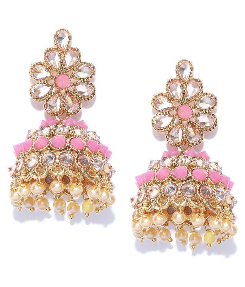 Pink Gold-Plated Handcrafted Kundan Stone-Studded Dome Shaped Jhumkas