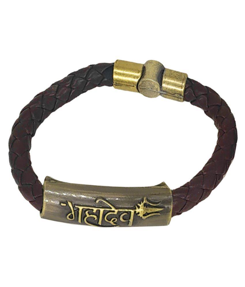 Men Style Mahadev Trishul Charm ID Brown Gold Leather Stainless Steel Bracelet