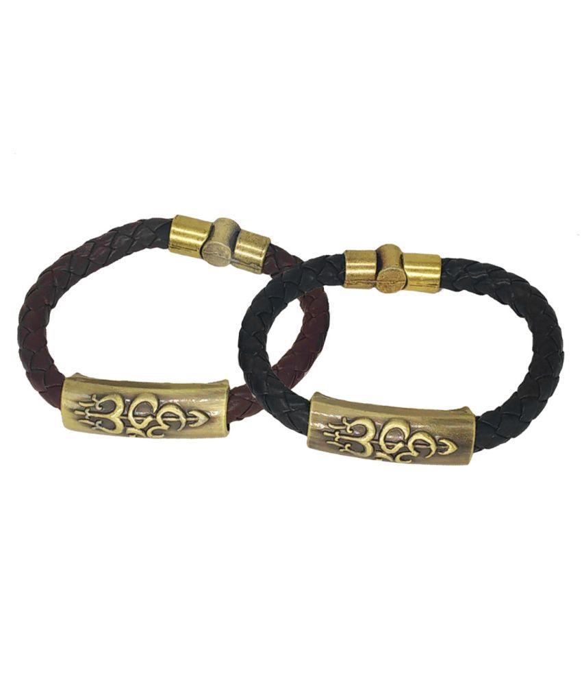 Men Style Om Shiva Trishula Damaru Charm ID Black Brown Gold Leather Stainless Steel Combo Bracelet