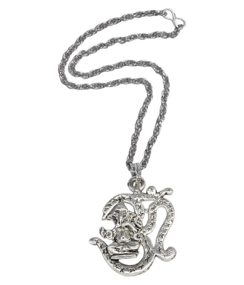 Men style Religious Jewelry Lord Om Shree Ganesh Locket With Chain Sterling Silver Zinc, Alloy Pendant