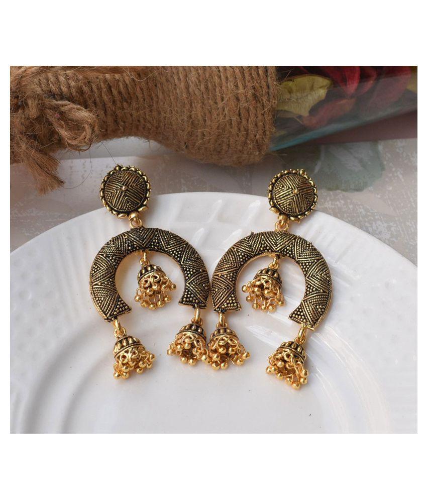 Steoora jewels Ethnic Om Golden Earrings for Women and Girls