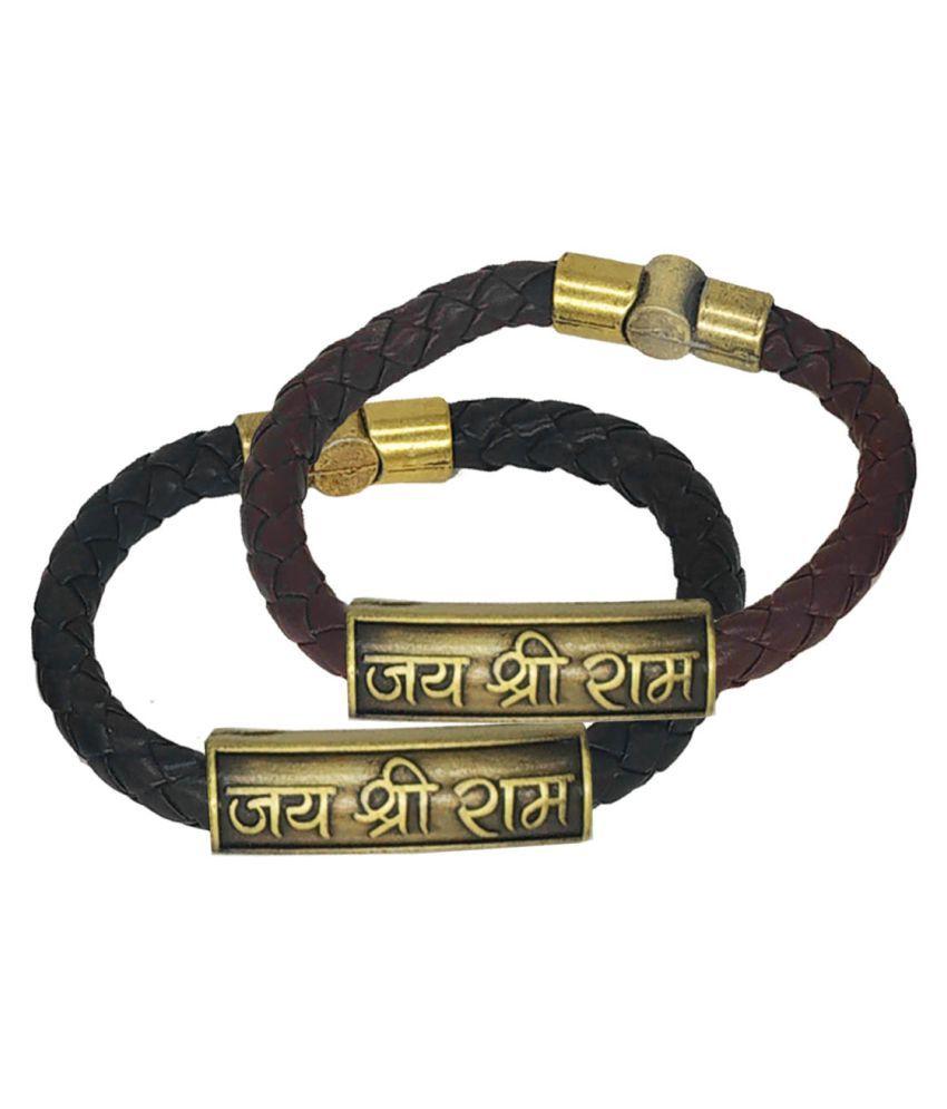 Shiv Jagdamba Jai Shree Ram Charm ID Black Brown Gold  Leather Stainless Steel Combo Bracelet